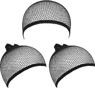 eBoot Wig Caps Elastic Hair Mesh Net Open End, Black, 3 Pack