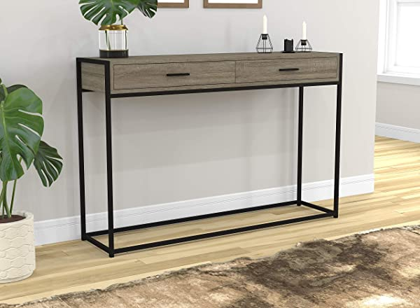 Safdie Co 81046 Z 05 Entryway Console Sofa Couch Table Accent Wall Table 48 Long Dark Taupe With Drawers For Living Room