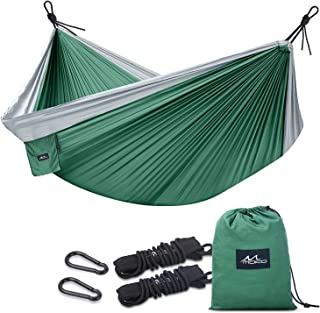MoKo Camping Hammock,  Outdoor Double Parachute Nylon 2 Person Portable Lightweight Hammock Swing 118 x 78 with Straps Hold Up to 440Lbs for Travel,  Backpacking,  Beach,  Yard,  Hiking