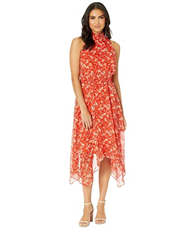 Sam Edelman Smocked Midi Hanky Hem Dress (Coral Multi) Women