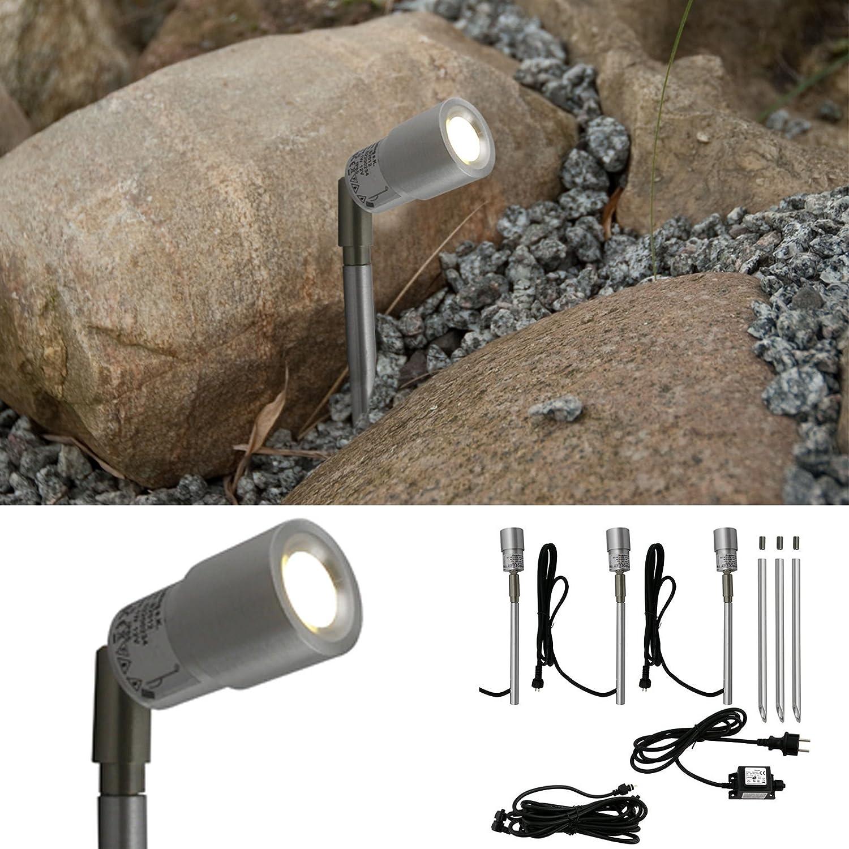 L&E52200134 - LED Gartenbeleuchtung AluSlim 3er Set, schwenkbarer Gartenstrahler mit Erdspie, Lichtfarbe  kalt wei, IP44, Gartenleuchte aus Aluminium