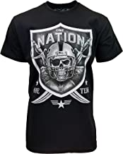 One Nation One Team Black and Silver Raider Fan Graphic Design Unisex Tee