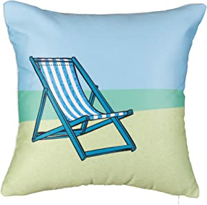 """Rennie & Rose - Coastal - Chill Out Beach Chair Throw Pillow (18"""" x 18"""")"""