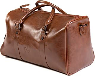 NV Bags: Duffle Gym Travel Duffel Leather Sports Overnight Weekender Brown Bag (Brown)