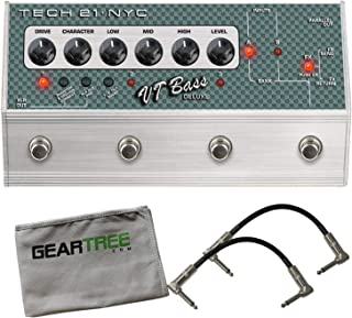 Tech 21 SansAmp Character VT Bass Deluxe Distortion Pedal Bundle w/Cables