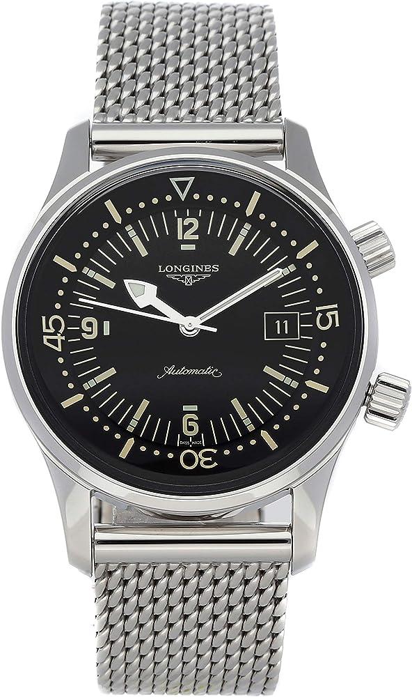 Longines legend diver orologio automatico da uomo in acciaio inossidabile L37744506
