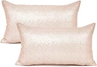 "Best YOUR SMILE Pack of 2, New Luxury Series Rose Gold Decorative Glitzy Sequin & Comfy Satin Solid Throw Pillow Cover Cushion Case for Wedding/Party,12"" x 20"" Review"
