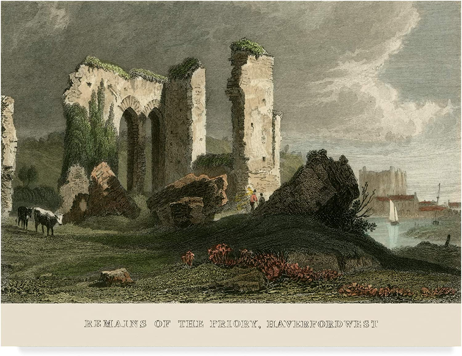 Trademark Fine Art Remains of Priory Haverford West Art by T. Allom, 14x19