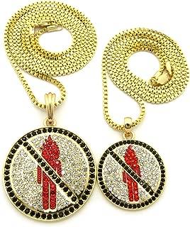 Black Stone Border Rapper Music Video Monster Logo Pendant Set w/ 2mm Box Chain Necklaces in Gold-Tone