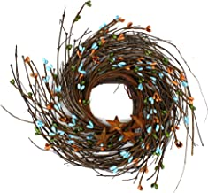 CVHOMEDECO. Primitives Rustic Pip Berries and Twig with Rusty Barn Stars Wreath, 7-Inch, Country Mix