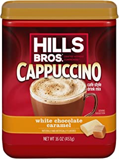 Hills Bros Instant White Chocolate Caramel Decadent Cappuccino Mix, Easy to Use, Enjoy Coffeehouse Flavor from Home, Froth...