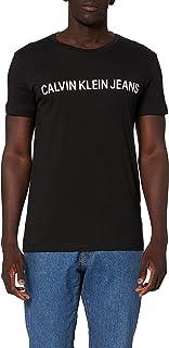Calvin Klein Jeans Mens Shiny Tonal Institut Short Sleeves T-Shirt, Color Black (Ck Black 099), Size L