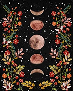 Paint by Numbers for Adults - TUMOVO Moonlit Garden Painting by Numbers for Adults Moon Phase Surrounded by Vines and Flowers Black Adult Paint by Number Kit Unique Gift for Adults, 16