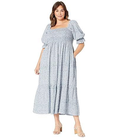Madewell Plus Lucie Elbow Sleeve Smocked Midi Dress in Sunflower Field
