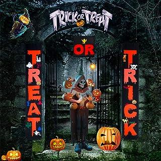 KATELUO Halloween banderoller, halloween dekorationer, halloween couplet gardin baner, bus eller godis halloween dörr coup...