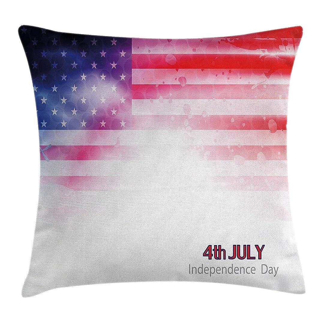 謎褒賞メディック4th of July Throw Pillow Cushion Cover, American Flag with Dreamy Design Stars and Stripes Grunge Artistic, Decorative Square Accent Pillow Case,Scarlet Navy Blue White Size:18 X 18 Inches/45cm x 45cm