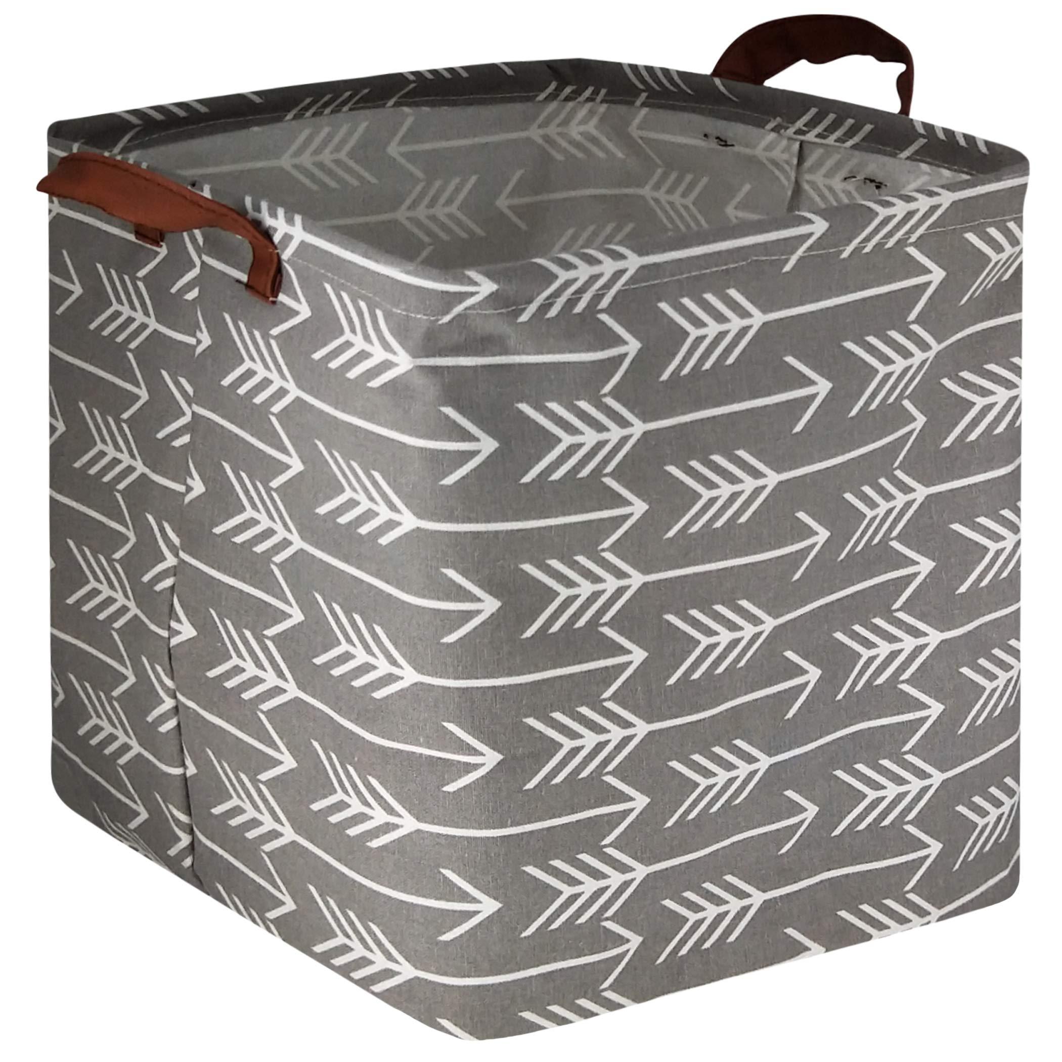 HIYAGON Square Storage Bins,Storage Baskets,Canvas Fabric Storage Boxes,Foldable Nursery Basket for Clothes,Books,Shelves Baskets,Gift Baskets,Home Organization,Room Decor(Grey Arrow)