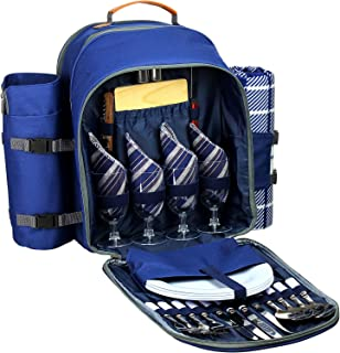 Picnic Backpack Set for 4 - Deluxe Collection   Picnic Set with Insulated Cooler Compartment, Fleece Blanket, Detachable Wine Holder, Cutlery Set for Family/Friends Camping, Road Trip, Hike, Adventure