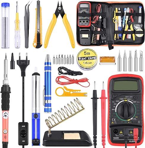 ETEPON Soldador Estaño 30 Piezas, Kit de Soldadura Completo para Trabajos de Soldadura, Eléctrico, Joyería ET007