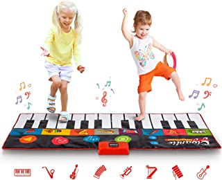 Abco Tech Giant Piano Mat – Jumbo Floor Keyboard with Play, Record, Playback and Demo Modes – New Look - 8 Different Musical Instruments Sound Options – 70in Play Mat - 24 Keys