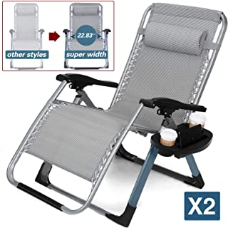 Rimdoc Anti Gravity Chairs Oversized Adjustable Folding Camping Chairs XL Zero Gravity Chair 2 Pack Patio Lounge Chairs Sets of 2 with Cup Tray Blue