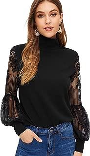 Women's High Neck Lace Lantern Long Sleeve Top Blouse
