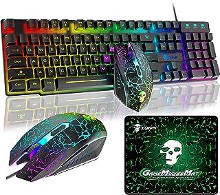 ゲーミングキーボード マウス セット 高耐久 RGB 多種ライトモード USB有線 防水多機能 マルチメディアキー 2400DPI調整 6つのボタンマウス パッド付き PS4、switchスイッチ、任天堂対応でき(ブラックRGB)