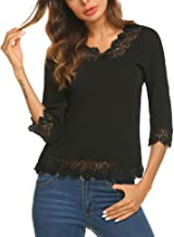Meaneor Women's Lace Splice Shirt Half Sleeve Blouse V Neck Casual Tops