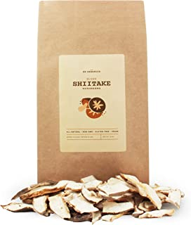 SB Organics White Flower Sliced Shiitake Mushrooms - All Natural Vegan and Gluten-Free Dried Sliced Mushrooms - 16 oz.