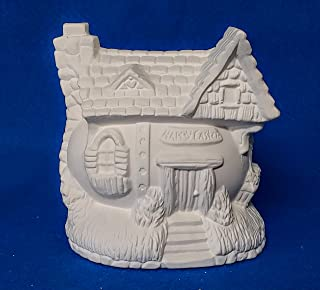 Happy Easter Egg House #1 unpainted ceramic bisque ready to be painted Village