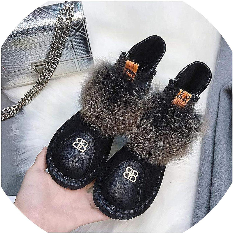 Fashion Women Winter Boots Black Flat Zipper Ankle Fur Boots Winter Plush Warm Fur Ball Snow Boots