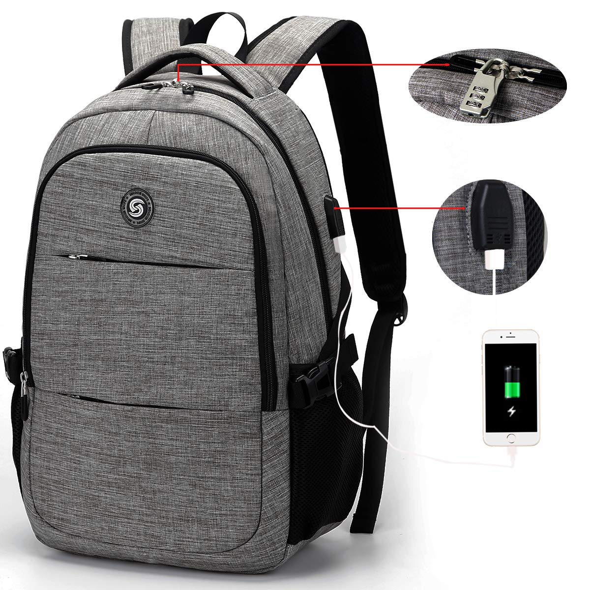 Business Travel Anti Theft Slim Durable Laptops Backpack with USB Charging Port