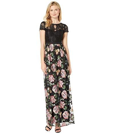 Adrianna Papell Embroidered Floral Evening Gown (Black Multi) Women