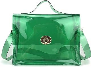 Clear Bag with Turn Lock Closure Cross Body Bag Women's Satchel Transparent Messenger Shoulder Handbag
