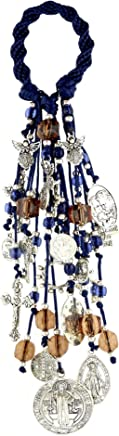 Home Door Blessings and Catholic Decor Gift with Saint Benedict Medal Virgin Mary Archangels Crucifix San Benito Proteccion Spirally Woven Design with 22 Charms.//B100WHITE