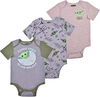 STAR WARS Lucasfilm Boy's 3-Piece Baby Yoda Onesie Creepers Set, Grey, Size 18M