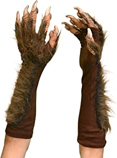 Zagone Studios Brown Wolf Gloves Small with Faux Fur and Latex Claws