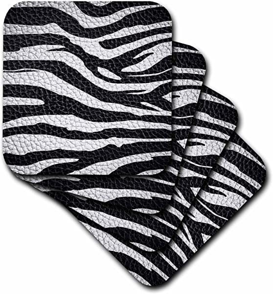 3dRose Cst 173295 2 Wild Africa Two Tone Leather Look African Zebra Pattern Safari Animal Print Soft Coasters Set Of 8