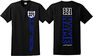 Motocross Number Plate Shirt MX Moto Personalized YZ Blue Yellow