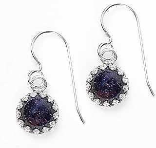Constellation Night Sky Dangle Drop Earrings in Sterling Silver with Blue Goldstone Gemstones