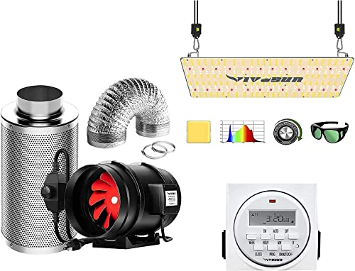 2021 VIVOSUN 8 outlet sale Inch 720 CFM Inline Fan Package, with VS2000 high quality LED Grow Light and 7 Day Programmable Digital Timer, Samsung LM301H Diodes & Brand Driver outlet online sale