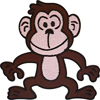 Sew-On Motif Primate Zoo Applique GORILLA Jungle Embroidered Patch Iron-On