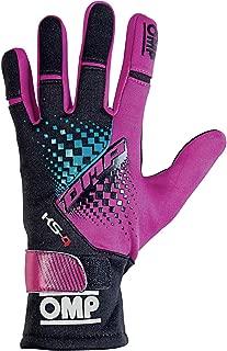 OMP KS-4 Karting Gloves (Size X-Small, Purple/Black/Cyan)