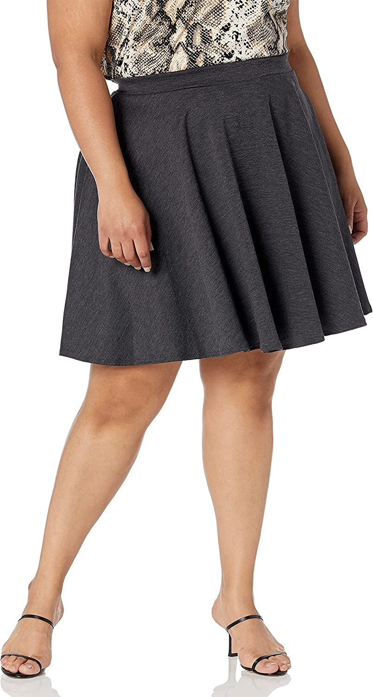 Star Vixen Women's Plus-Size Short Stretch Ponte Full Circle Skater Skirt