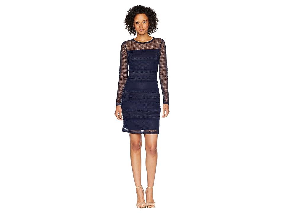 MICHAEL Michael Kors Long Sleeve Lace Dress (True Navy) Women