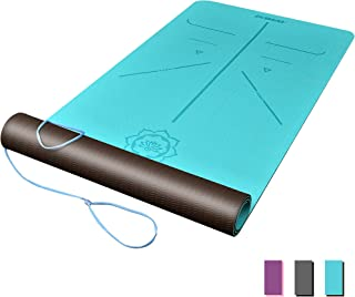 """DAWAY Eco Friendly TPE Yoga Mat Y8 Wide Thick Workout Exercise Mat, Non Slip Grip Pilates Mats, Body Alignment System, Tear Resistant, with Carrying Strap, 72""""x 26"""" Thickness 6mm, 1 Year Warranty"""