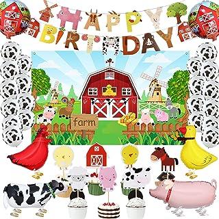 35 Pcs Farm Animals Birthday Party Set, Farm Animals Barn Backdrop Banner Farm Animals Walking Balloons Cupcake Toppers Bi...