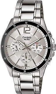 ساعة للرجال من كاسيو، انالوج، كرونوغراف، ستانلس ستيل، فضي، MTP-1374D-7AV