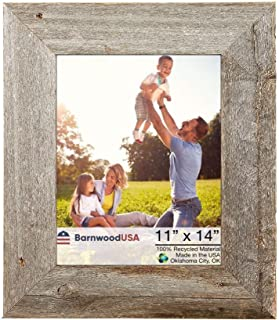 BarnwoodUSA Rustic 11 by 14 Inch Picture Frames with 3 Inch Molding - 100% Reclaimed Wood, Weathered Gray