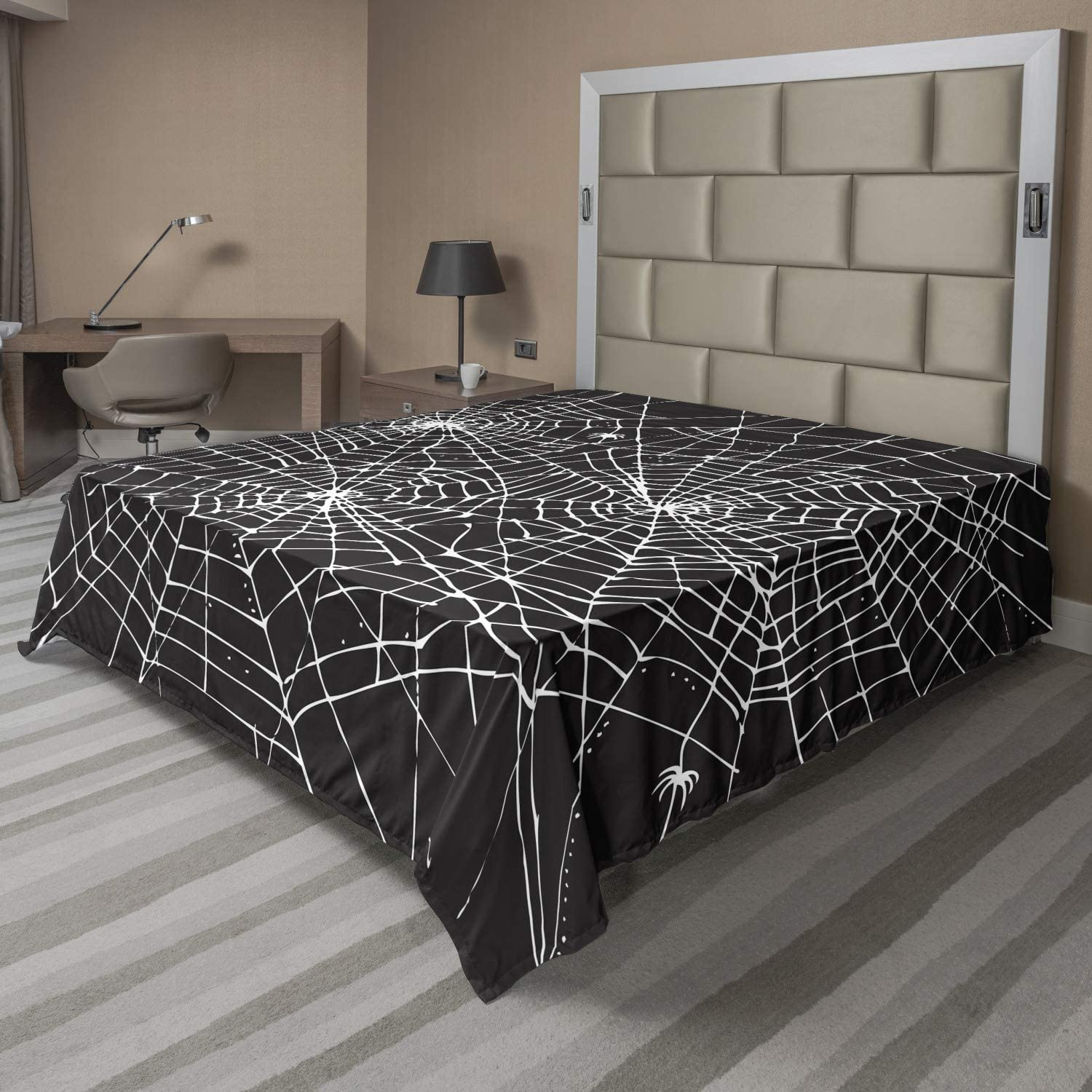Lunarable Spiderweb Flat Sheet Greyscale Style Direct sale of manufacturer Halloween Web Excellence De